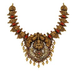 Antique Coral Peacock Necklace